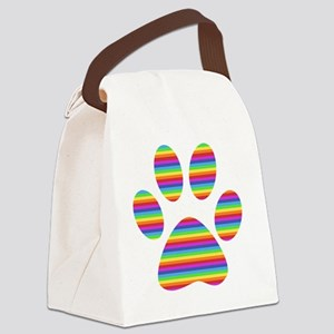 rainbow puppy paw print Canvas Lunch Bag