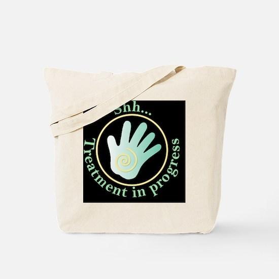 Shh Treatment In Progress Green Hand Tote Bag