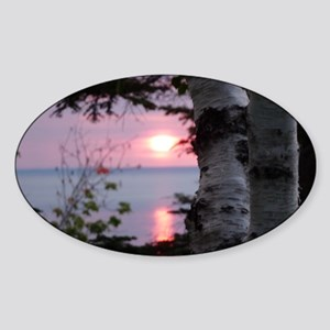 Sunset Lake Superior Sticker (Oval)