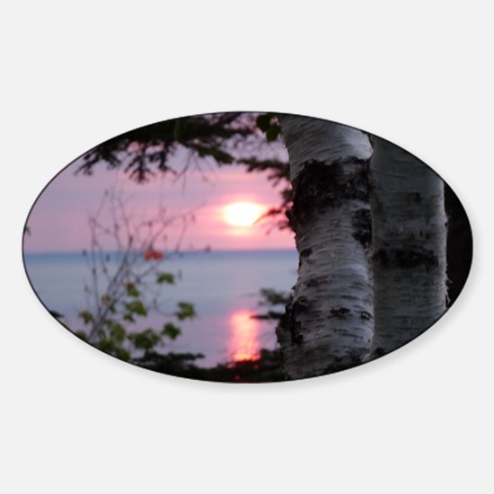 Sunset Lake Superior Sticker (Oval)