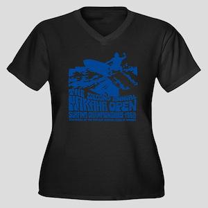 Makaha Surfi Women's Plus Size Dark V-Neck T-Shirt