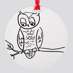 Little Hoot - Owl on Branch Round Ornament