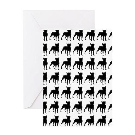 Boston Terrier Silhouette Flip Flops Greeting Card