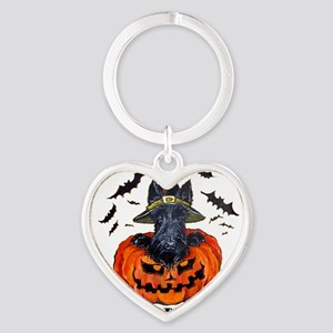 Scottie Witch Heart Keychain