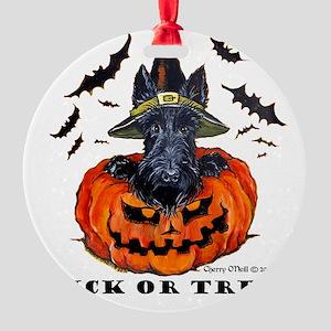 Scottie Witch Round Ornament