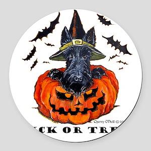 Scottie Witch Round Car Magnet