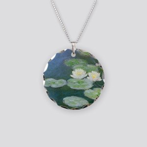 Monet Water Lilies Necklace Circle Charm