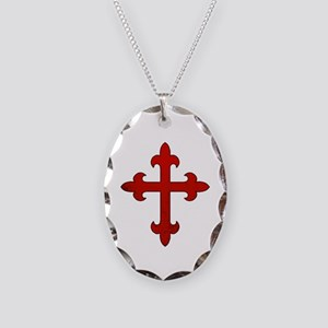 Crusader Cross Necklace Oval Charm