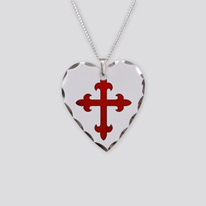 Crusader Cross Necklace Heart Charm