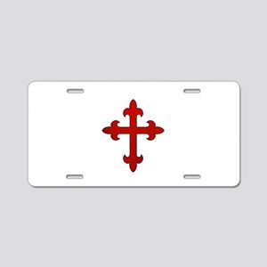 Crusader Cross Aluminum License Plate