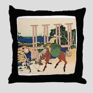 Hokusai Senju Musashi Province Throw Pillow