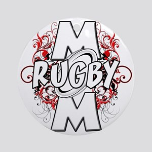 Rugby Mom (cross) Round Ornament