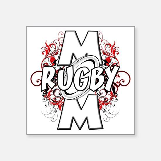 """Rugby Mom (cross) Square Sticker 3"""" x 3"""""""