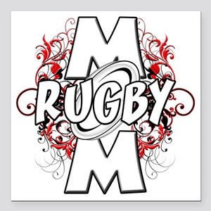 """Rugby Mom (cross) Square Car Magnet 3"""" x 3"""""""