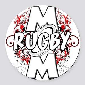 Rugby Mom (cross) Round Car Magnet