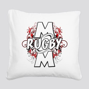 Rugby Mom (cross) Square Canvas Pillow