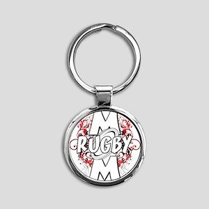 Rugby Mom (cross) Round Keychain