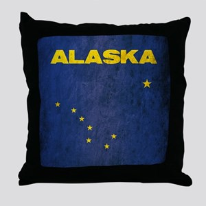 Grunge Alaska Flag Throw Pillow