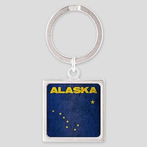 Grunge Alaska Flag Square Keychain