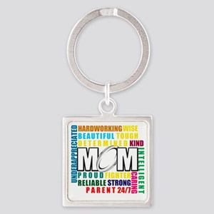 What is a Rugby Mom copy Square Keychain