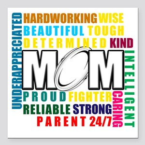 "What is a Rugby Mom copy Square Car Magnet 3"" x 3"""