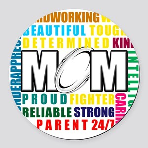 What is a Rugby Mom copy Round Car Magnet