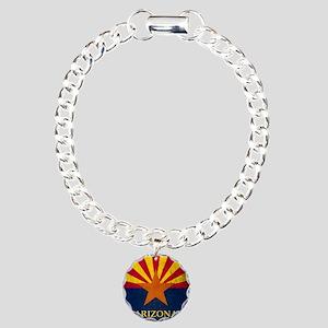 Grunge Arizona Flag Charm Bracelet, One Charm
