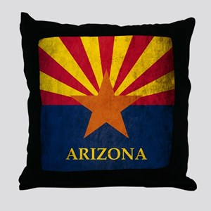 Grunge Arizona Flag Throw Pillow