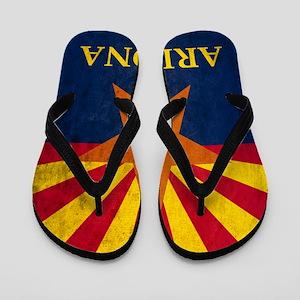 Grunge Arizona Flag Flip Flops