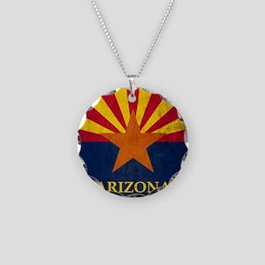 Grunge Arizona Flag Necklace Circle Charm