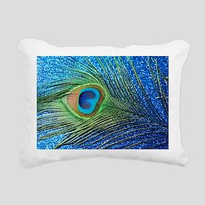 Glittery Blue Peacock Fe Rectangular Canvas Pillow