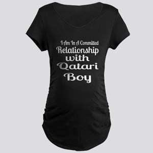 I Am In Relationship With Q Maternity Dark T-Shirt