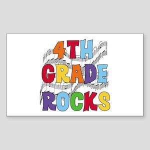 Bright Colors 4th Grade Rectangle Sticker