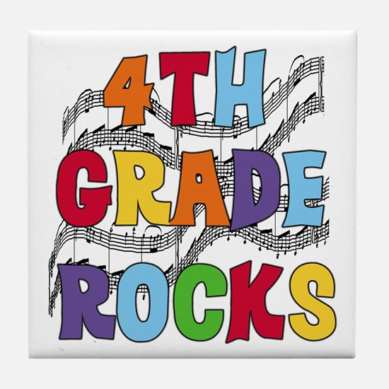 Bright Colors 4th Grade Tile Coaster