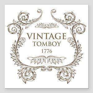 "Vintage Tomboy 1776 Square Car Magnet 3"" x 3"""