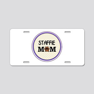 Staffie Dog Mom Aluminum License Plate