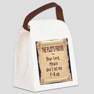 PilotsPrayerFuoLuggHandleWrap Canvas Lunch Bag
