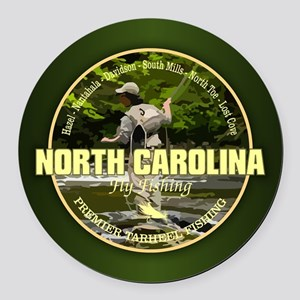 North Carolina Fly Fishing Round Car Magnet