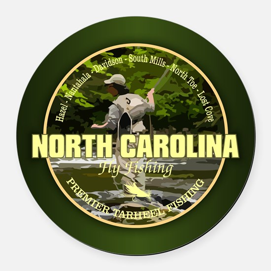 North Carolina Fly Fishing Round Car Magnet
