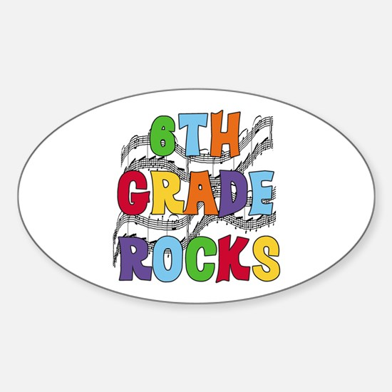 Bright Colors 6th Grade Oval Decal