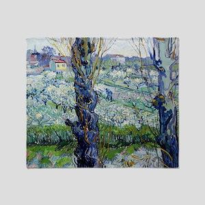 Van Gogh Flowering Orchards Throw Blanket