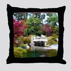 Japanese GArden and Bridge Throw Pillow