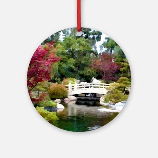 Japanese GArden and Bridge Round Ornament