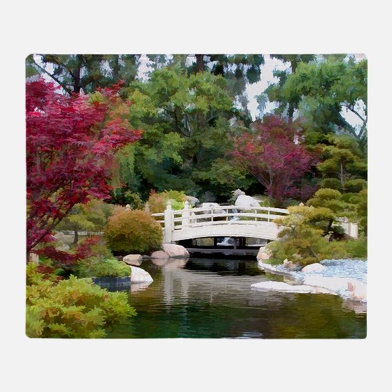 Japanese GArden and Bridge Throw Blanket