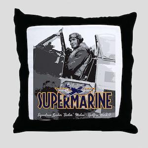 Supermarine Spitfire Pilot Art on Throw Pillow