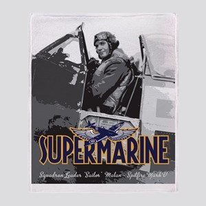 Supermarine Spitfire Pilot Art on Throw Blanket