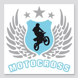"""motorcycle jump fire win Square Car Magnet 3"""" x 3"""""""