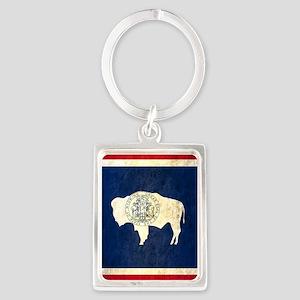 Grunge Wyoming Flag Portrait Keychain