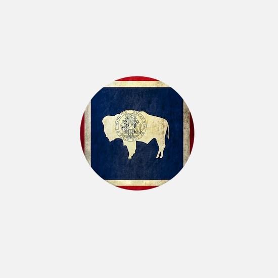 Grunge Wyoming Flag Mini Button