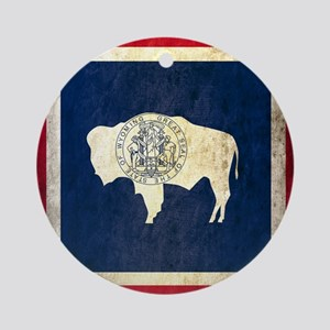 Grunge Wyoming Flag Round Ornament